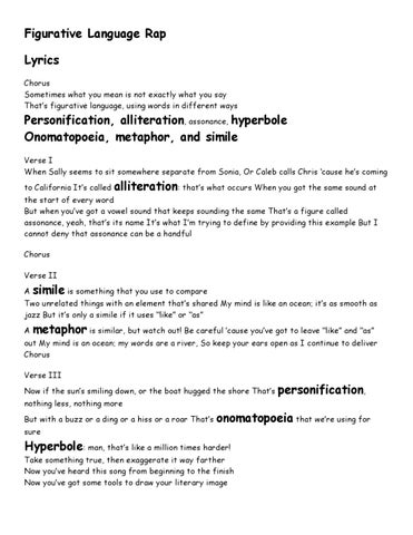 Figurative language rap by shannon shilling page 1 issuu