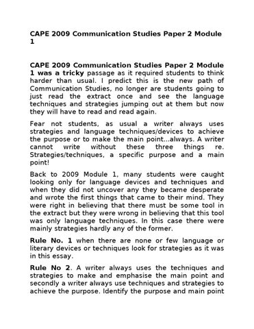 Cape Communication Studies 2012 Past Paper