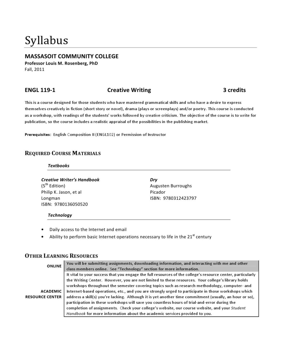 bmm creative writing syllabus