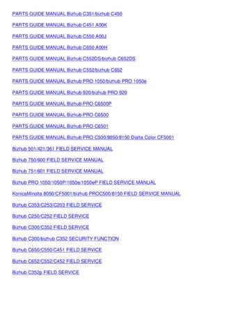 Bizhub Pro 920 Field Service Manual