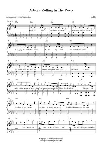 Adele rolling in the deep piano partitura