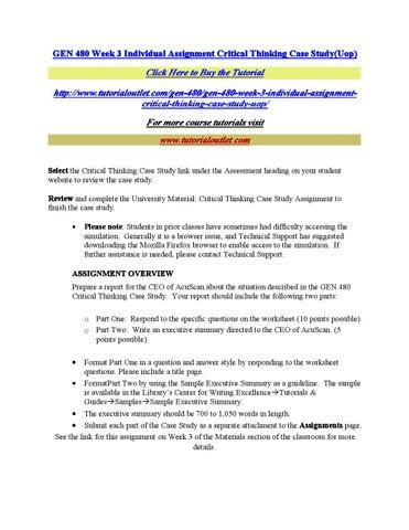 Critical Thinking Gen 480 Assessment Case