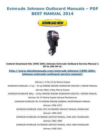 Johnson Evinrude - pdf download|FactoryWorkshop