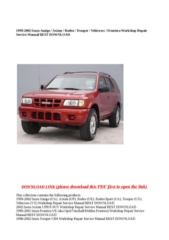 Download Pdf Vauxhall Frontera B Workshop Manual