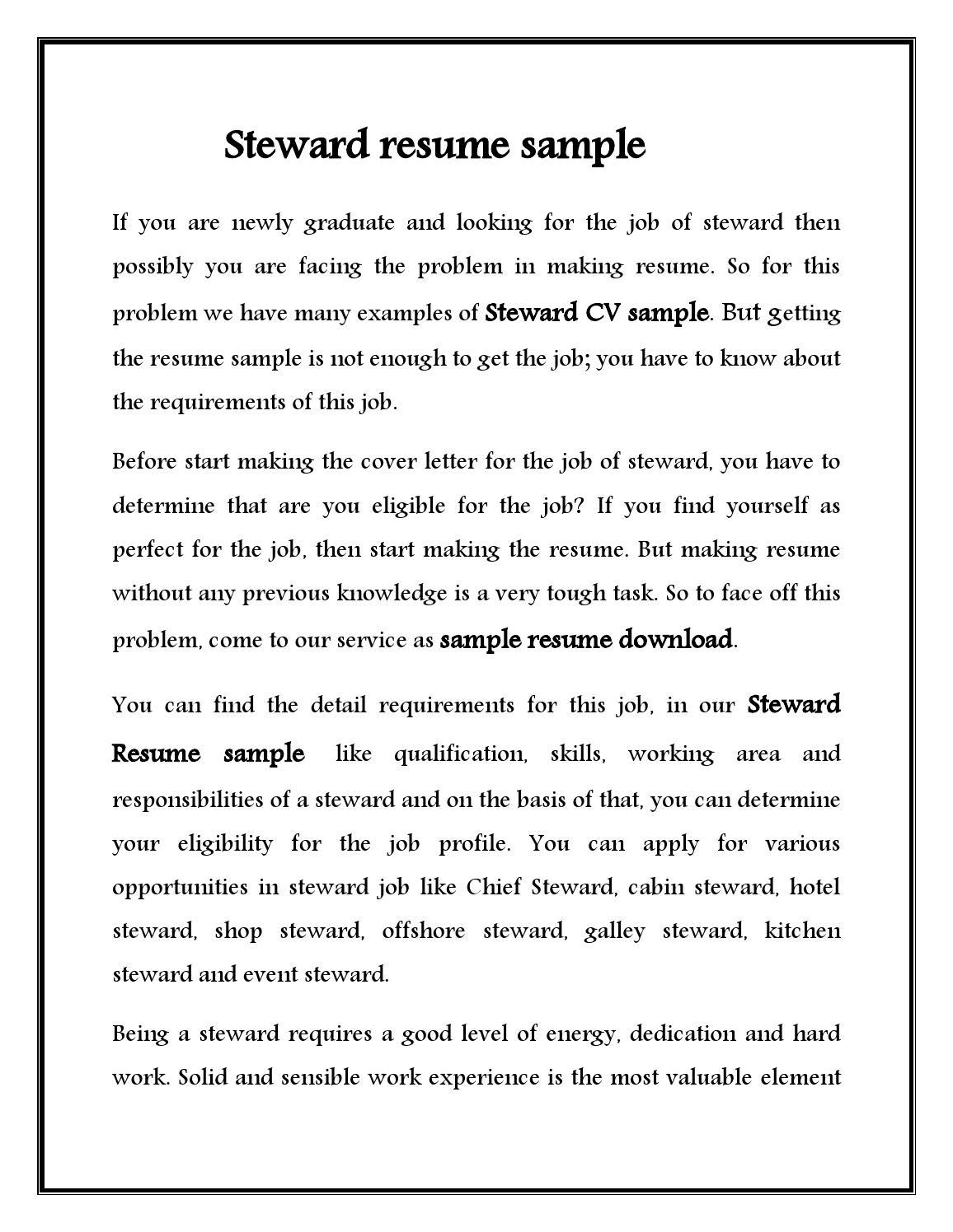 Resume Sample For Kitchen Steward