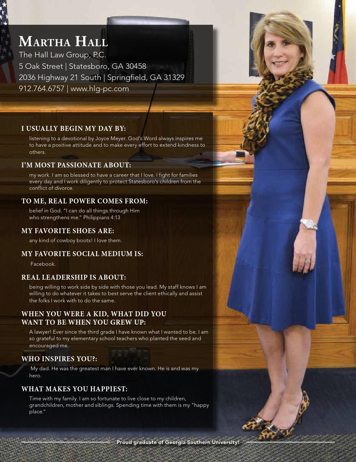 Martha Hall | Hall Law Group, P.C. | Statesboro Ga | Effingham Ga | Springfield Ga