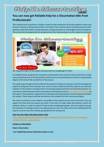 Get Dissertation Help from UK's Dissertation Writing