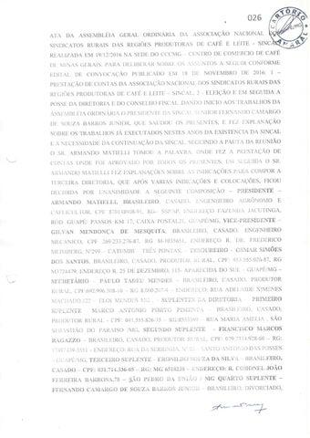 Ata de posse da diretoria da Sincal - Associação Nacional ... de Café e Leite -- Revista Cafeicultura / News Cafeicultura