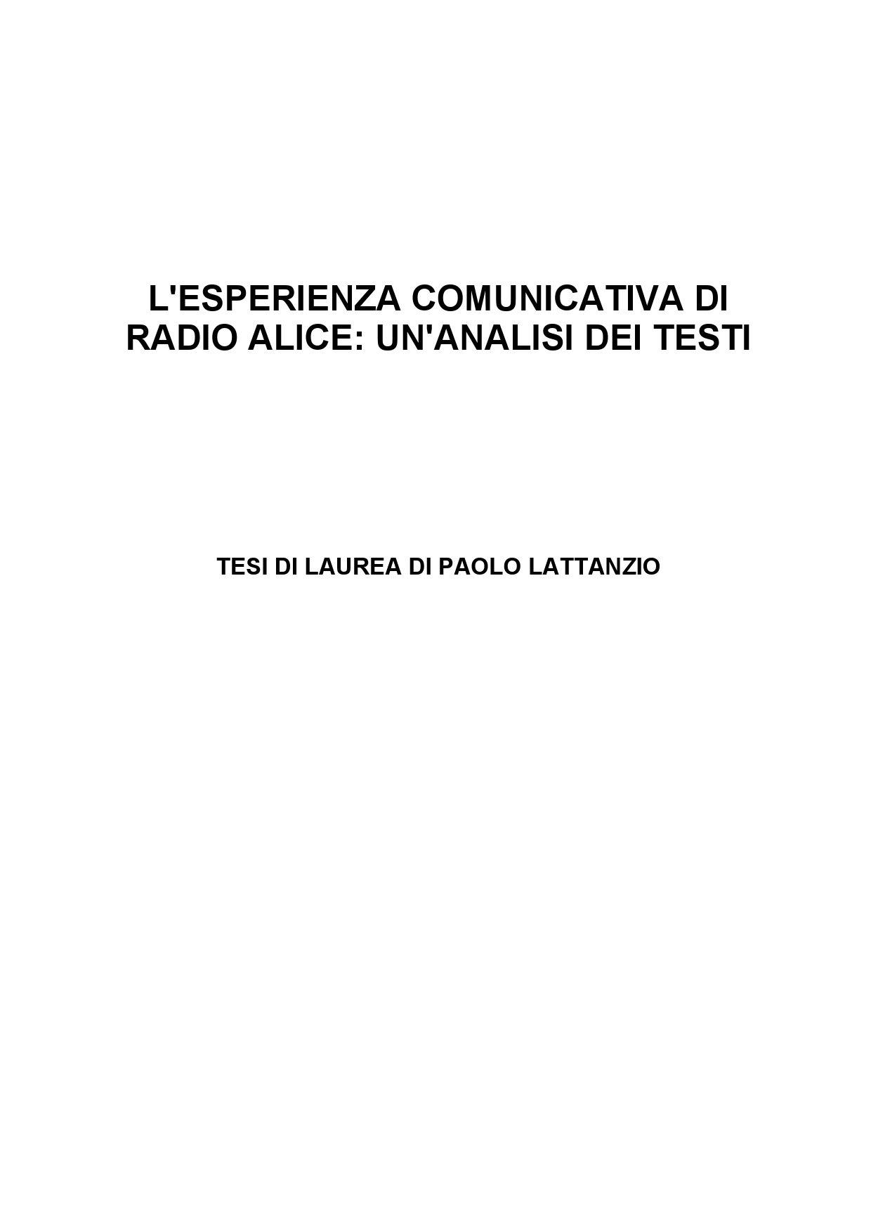 Circuito Comunicativo : Lesperienza comunicativa di radio alice by paololattanzio issuu
