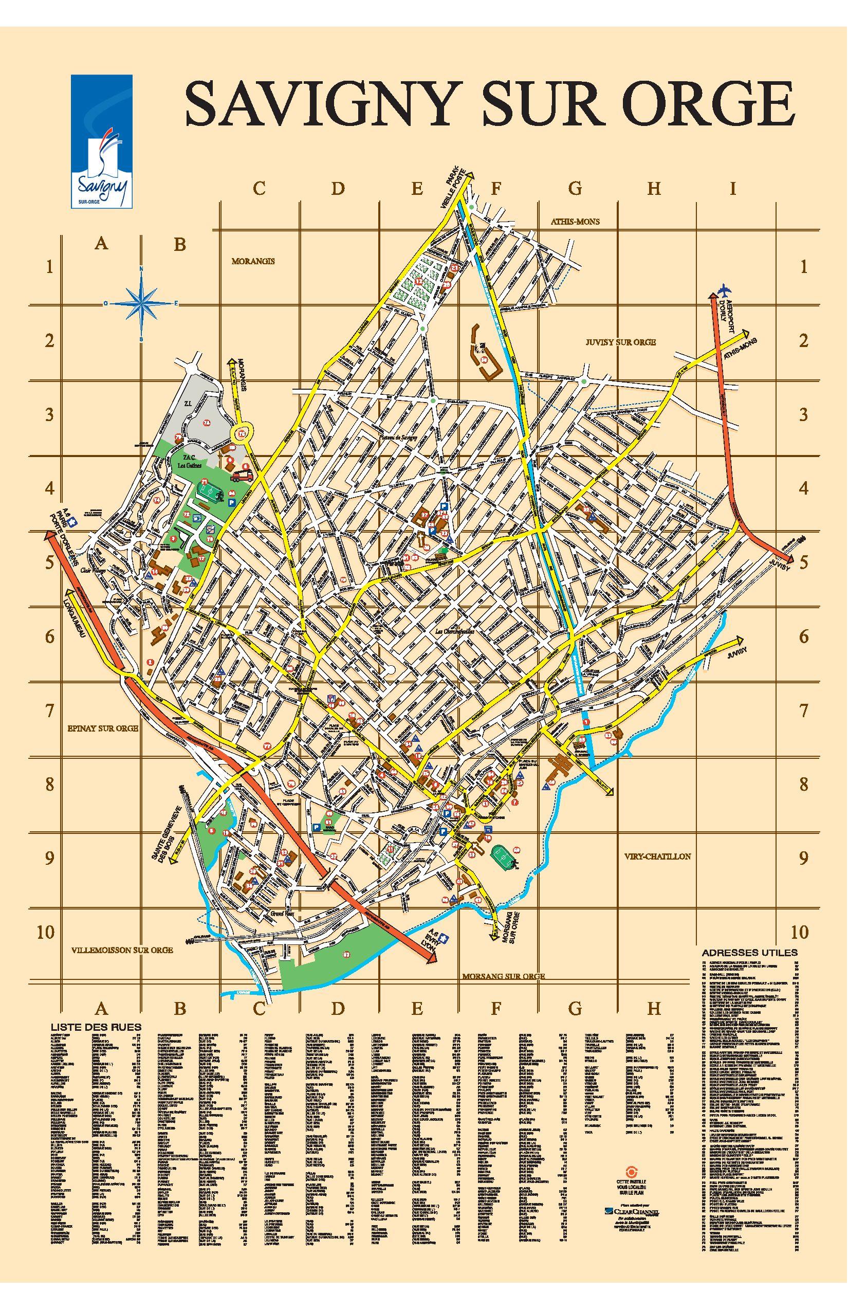 plan couleur de la ville de savigny sur orge by