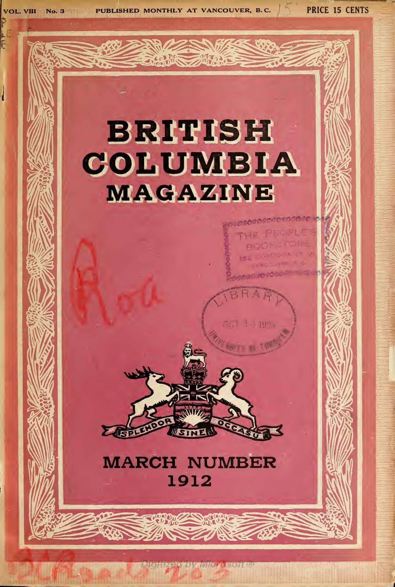 ad636c31fd427 1912 British Columbia Magazine (Volume 8