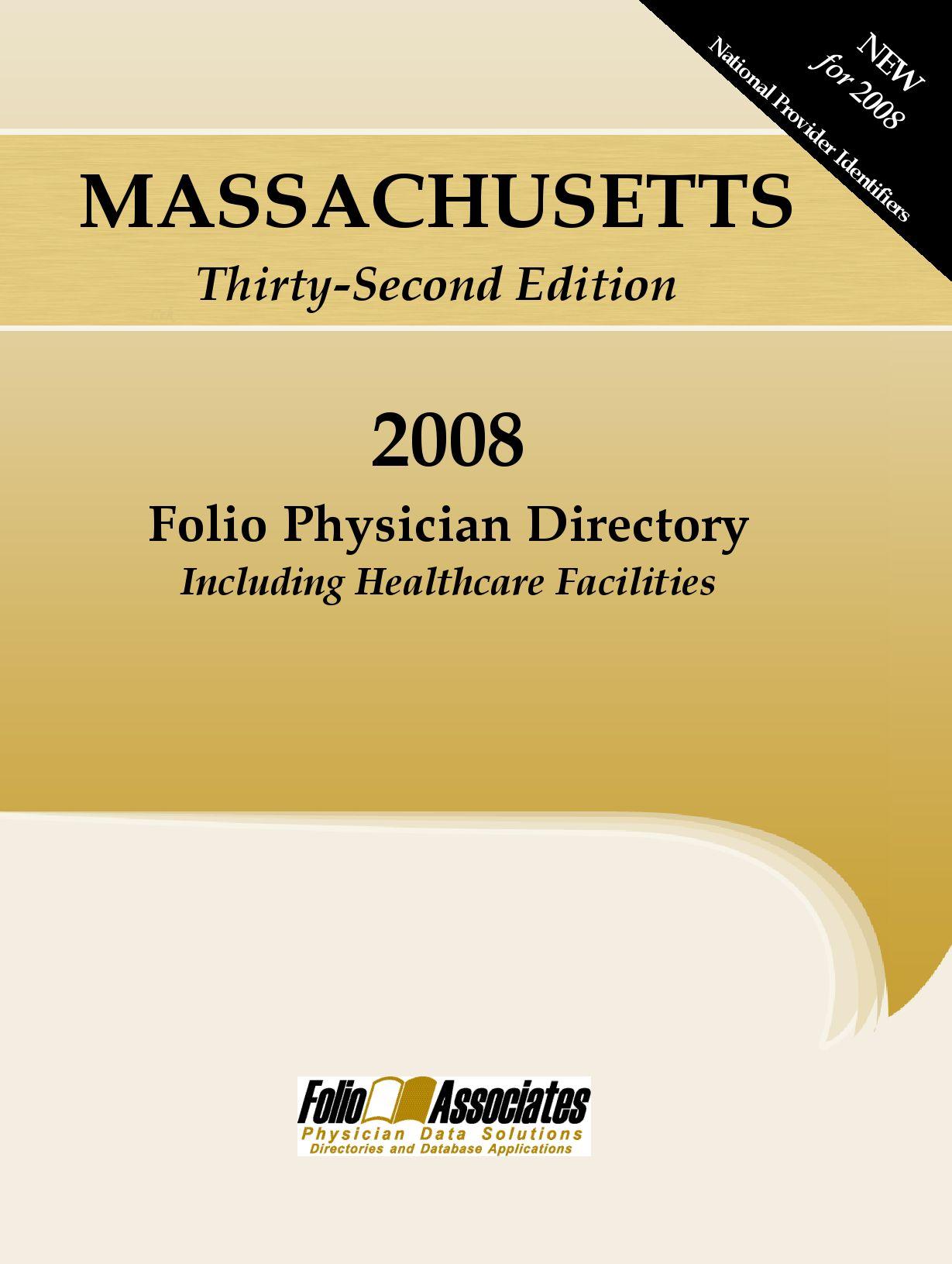 Folio Associates 2008 MA Physician Directory