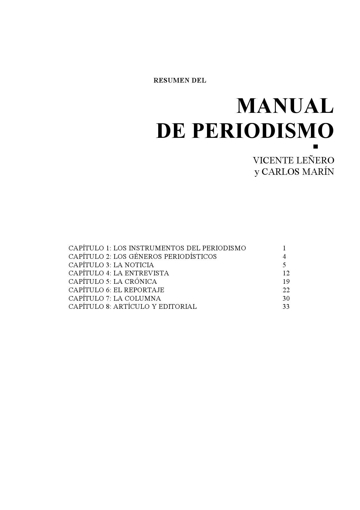 Resumen del MANUAL DE PERIODISMO by Héctor Montes - issuu