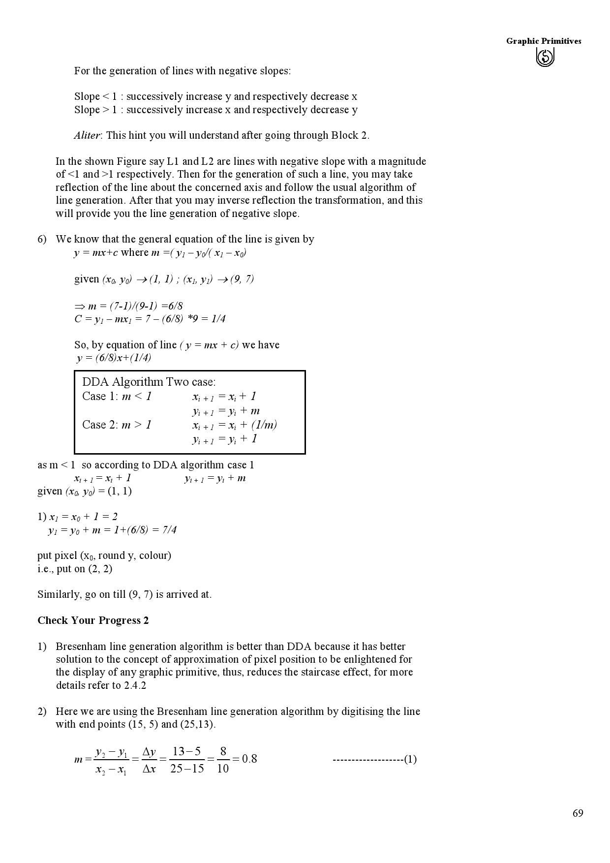 Dda Line Drawing Algorithm For Negative Slope In C : Mcs ignou study material by mca issuu