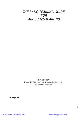 Basic Guide For Minister'a Training by Jackie Howard - issuu