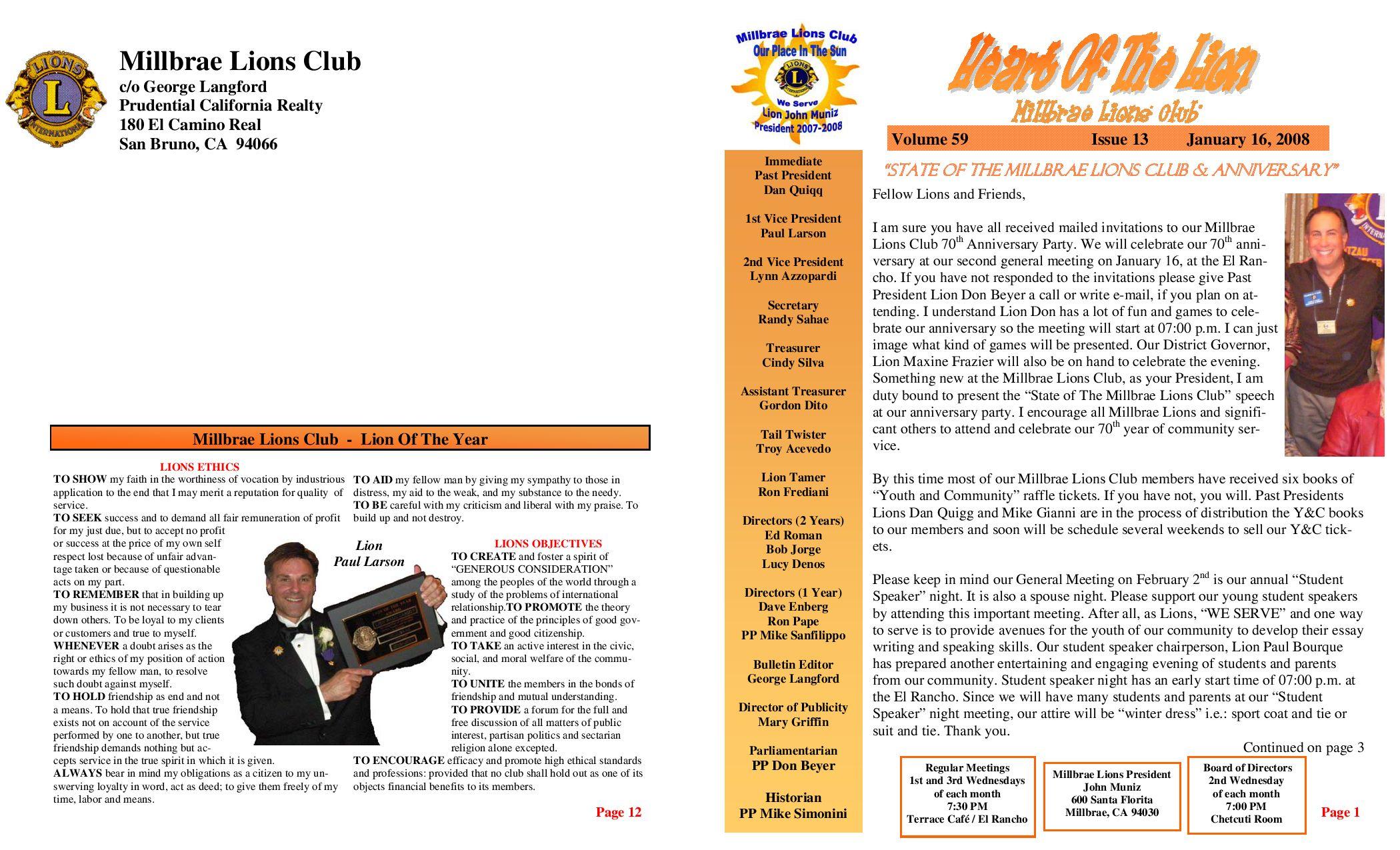 millbrae lions club essay
