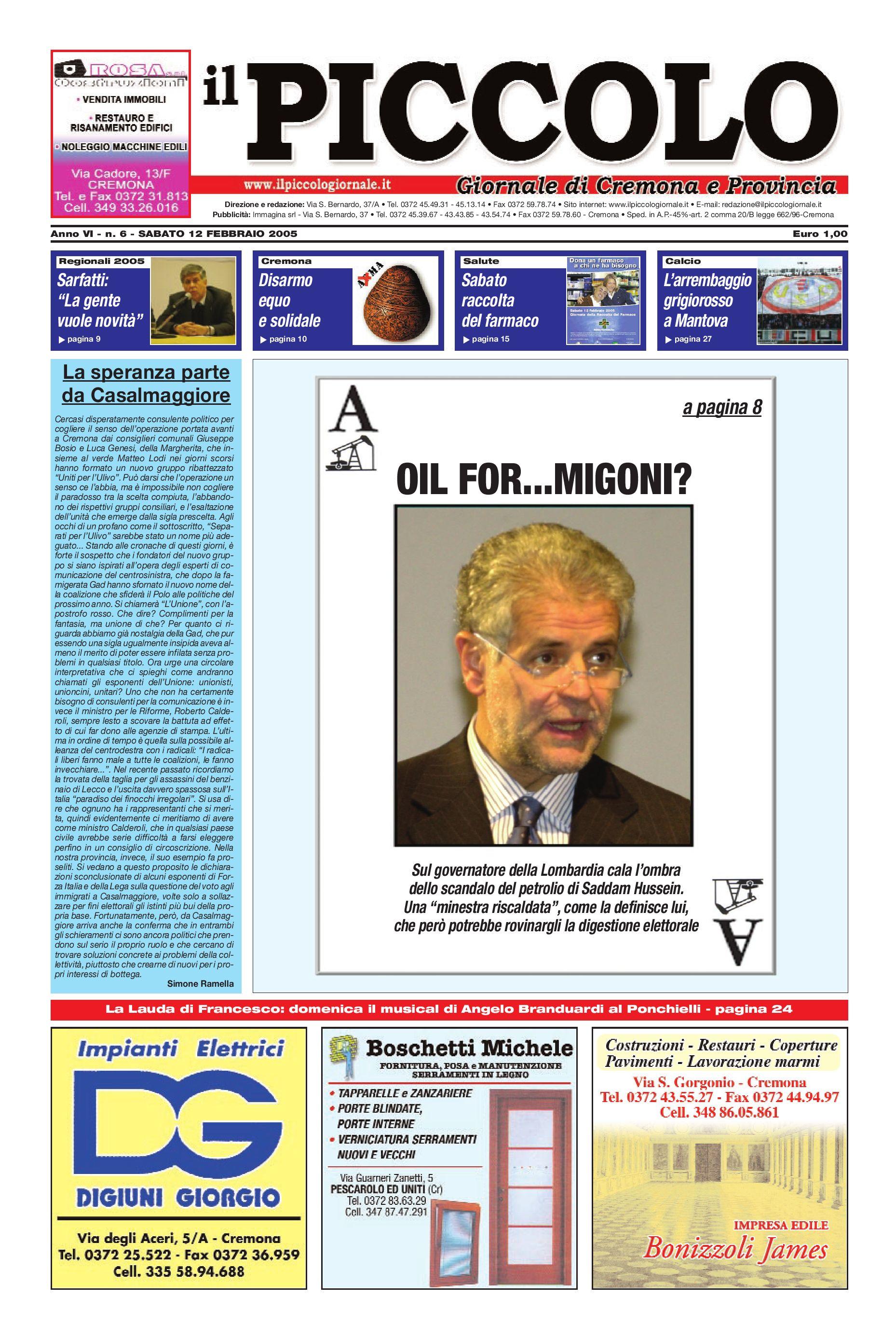 Il Piccolo Giornale [12 febbraio 2005] by Simone Ramella issuu