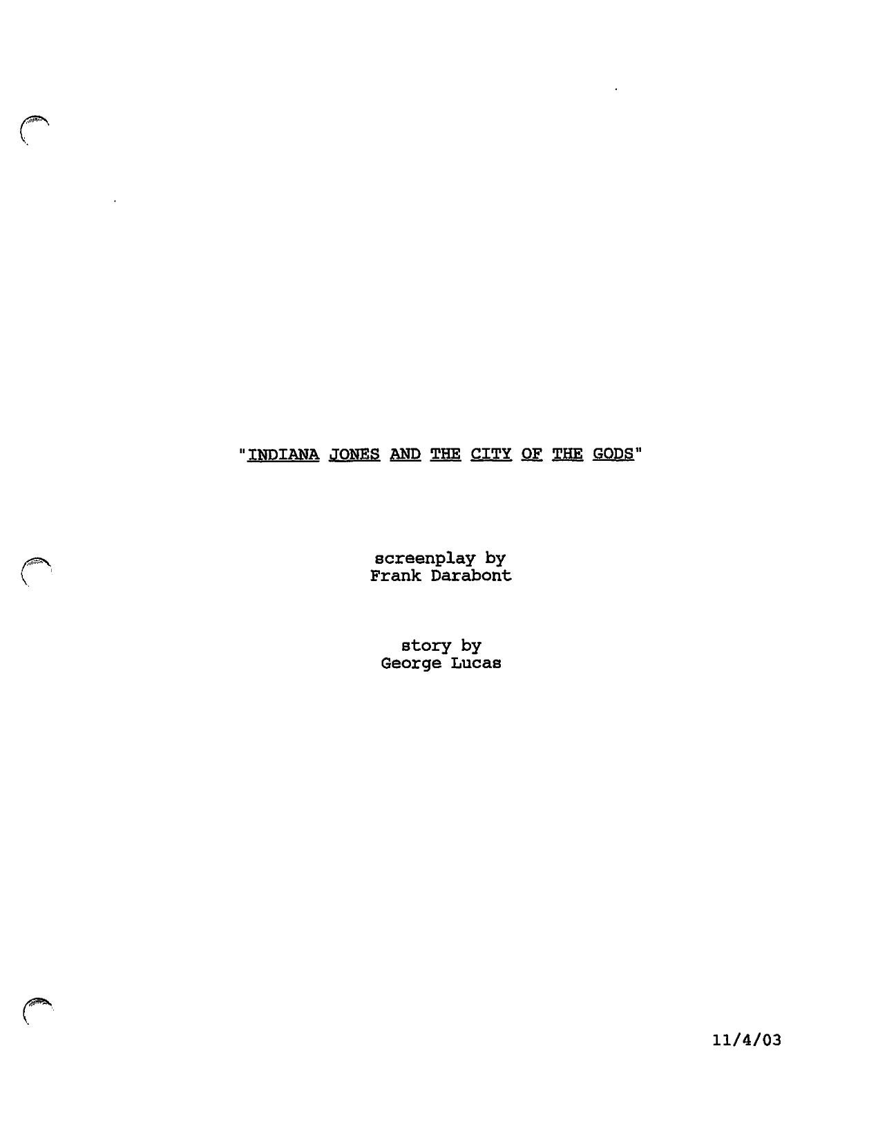 Script Indiana Jones and the city of the gods by Film Geek
