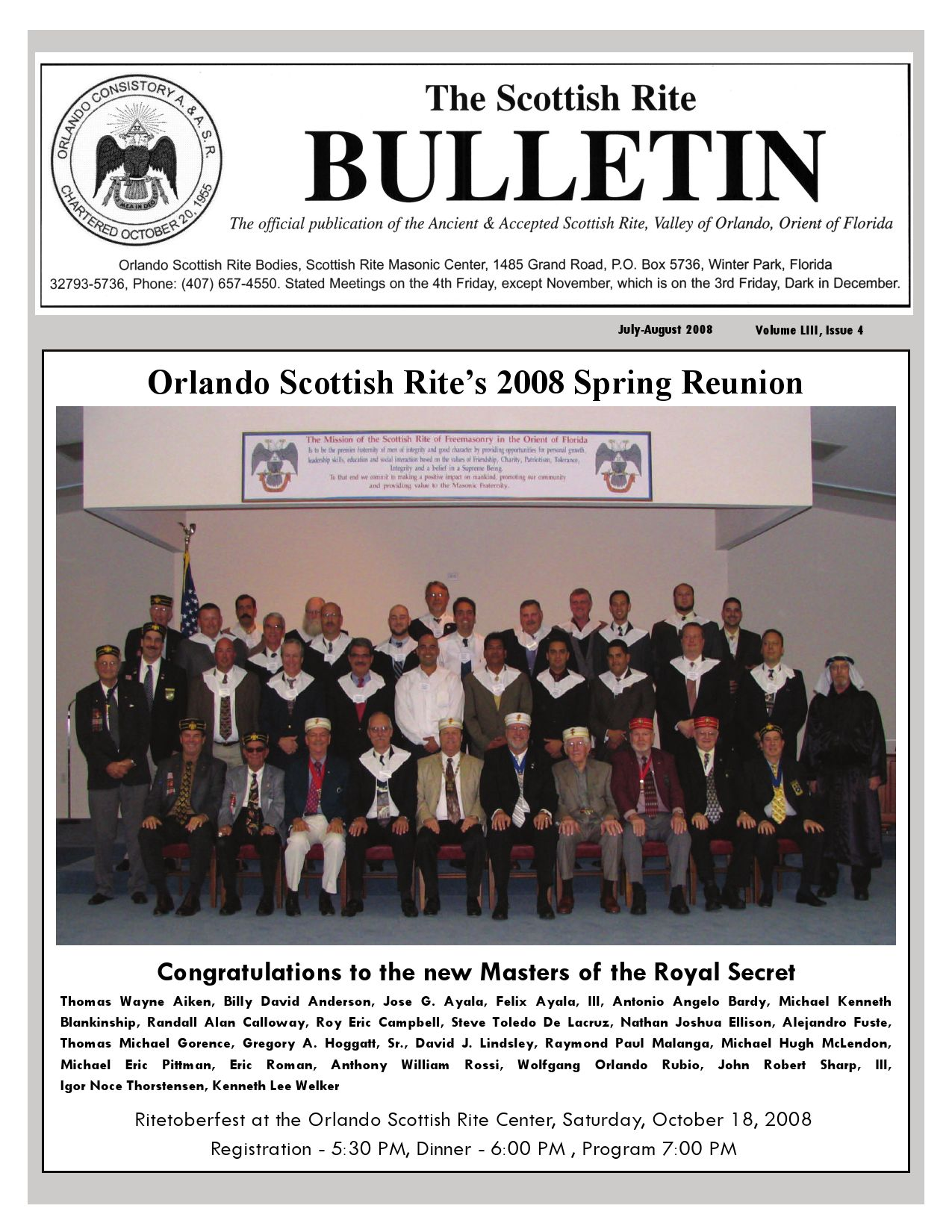 Orlando Scottish Rite Bulletin July-August 2008