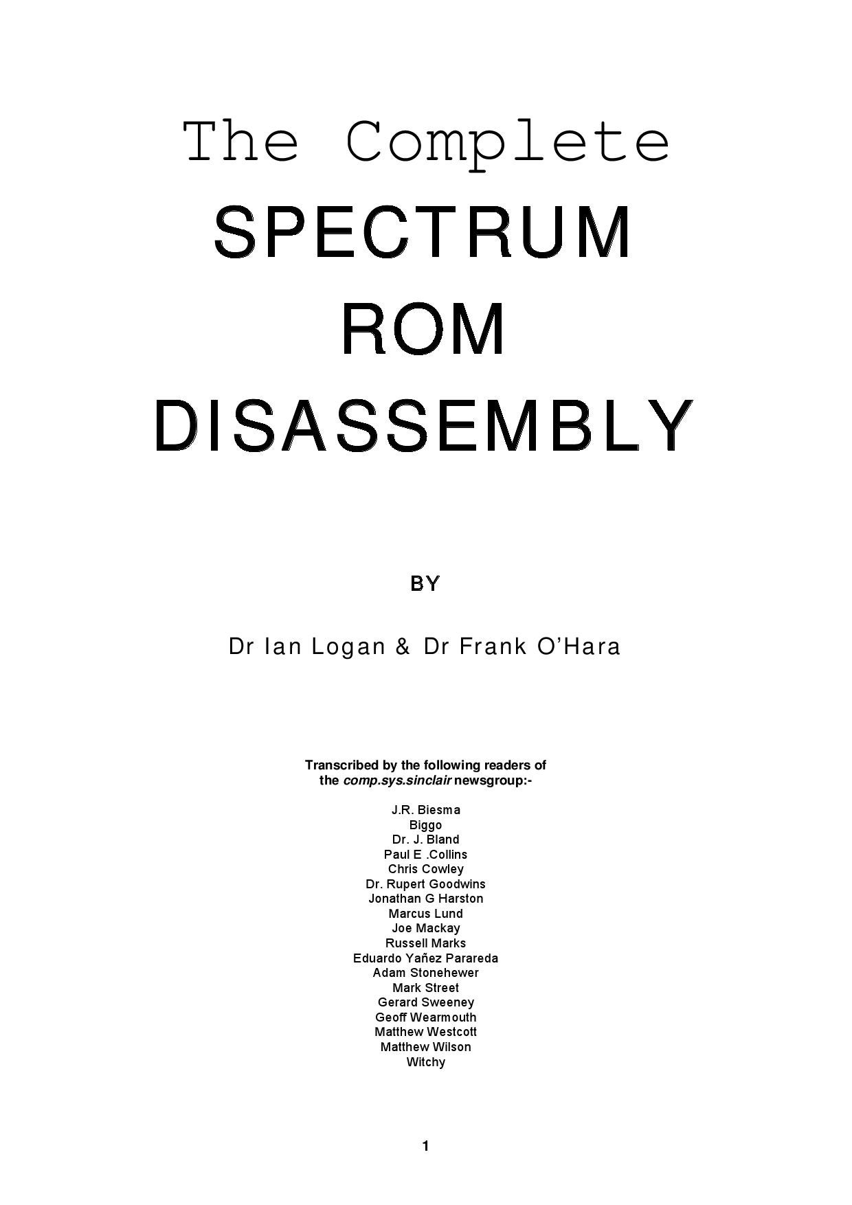 The plete Spectrum Rom Disassembly Zx by Enrique Garcia Galvez issuu