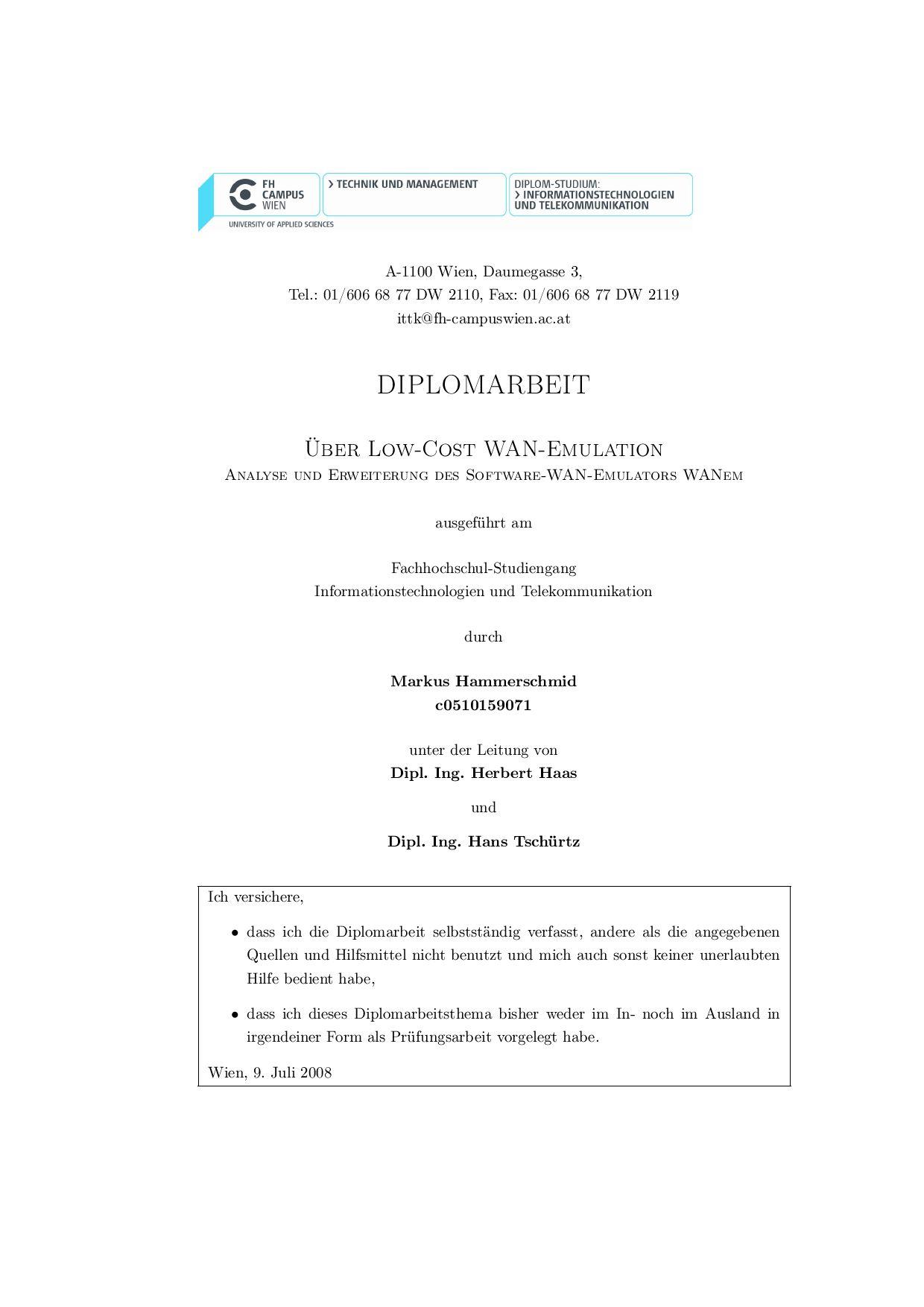 Über die Emulation von Weitverkehrsnetzen by Markus Hammerschmid - issuu
