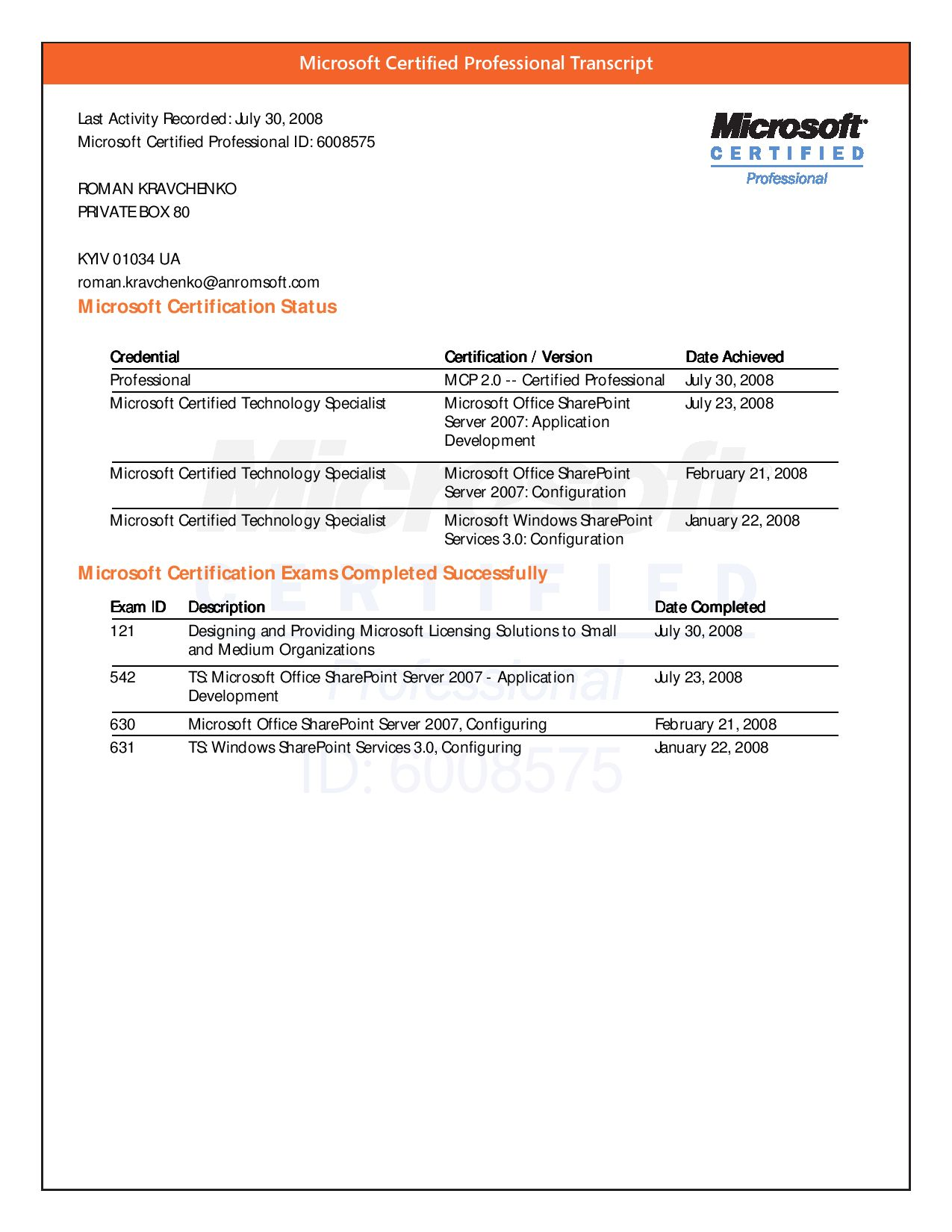 Microsoft Certified Professional Transcript By Romanavchenko Issuu