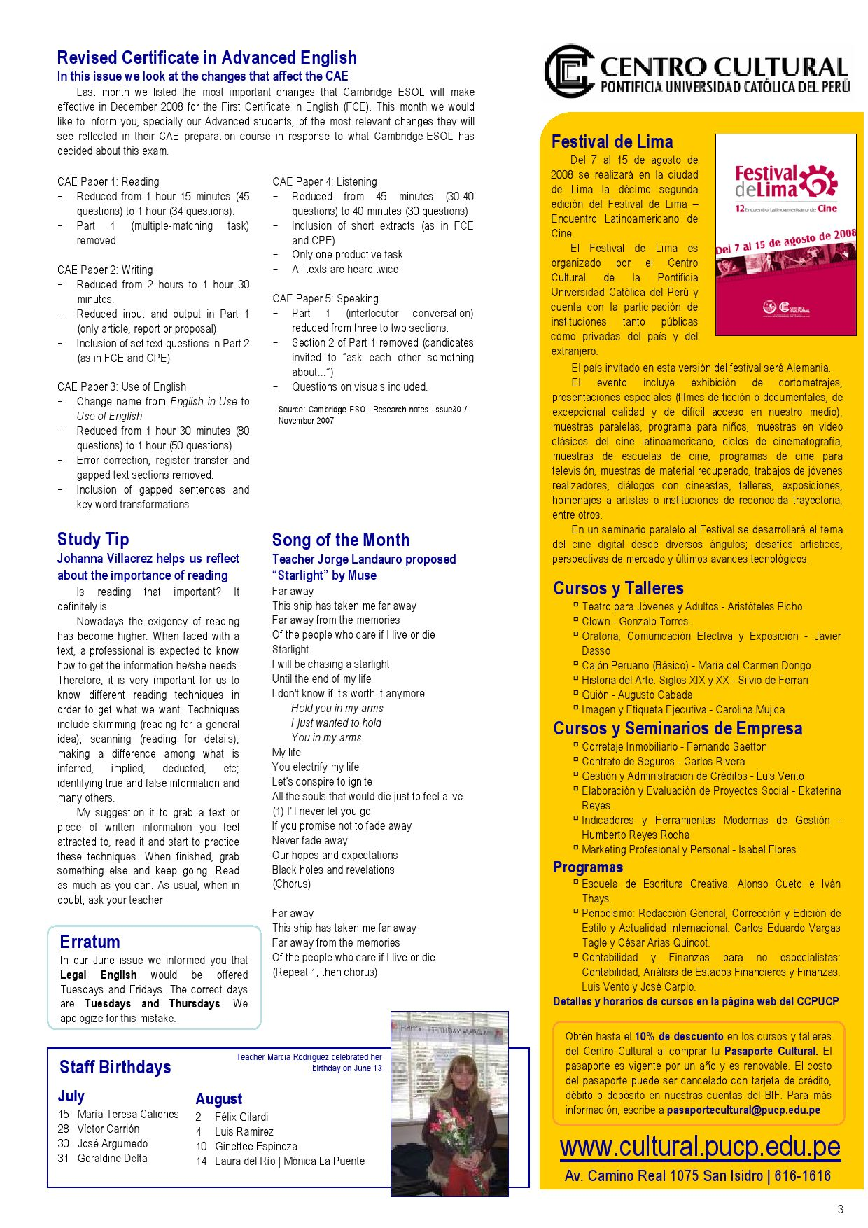 Newsletter July 2008 by Idiomas PUCP - issuu