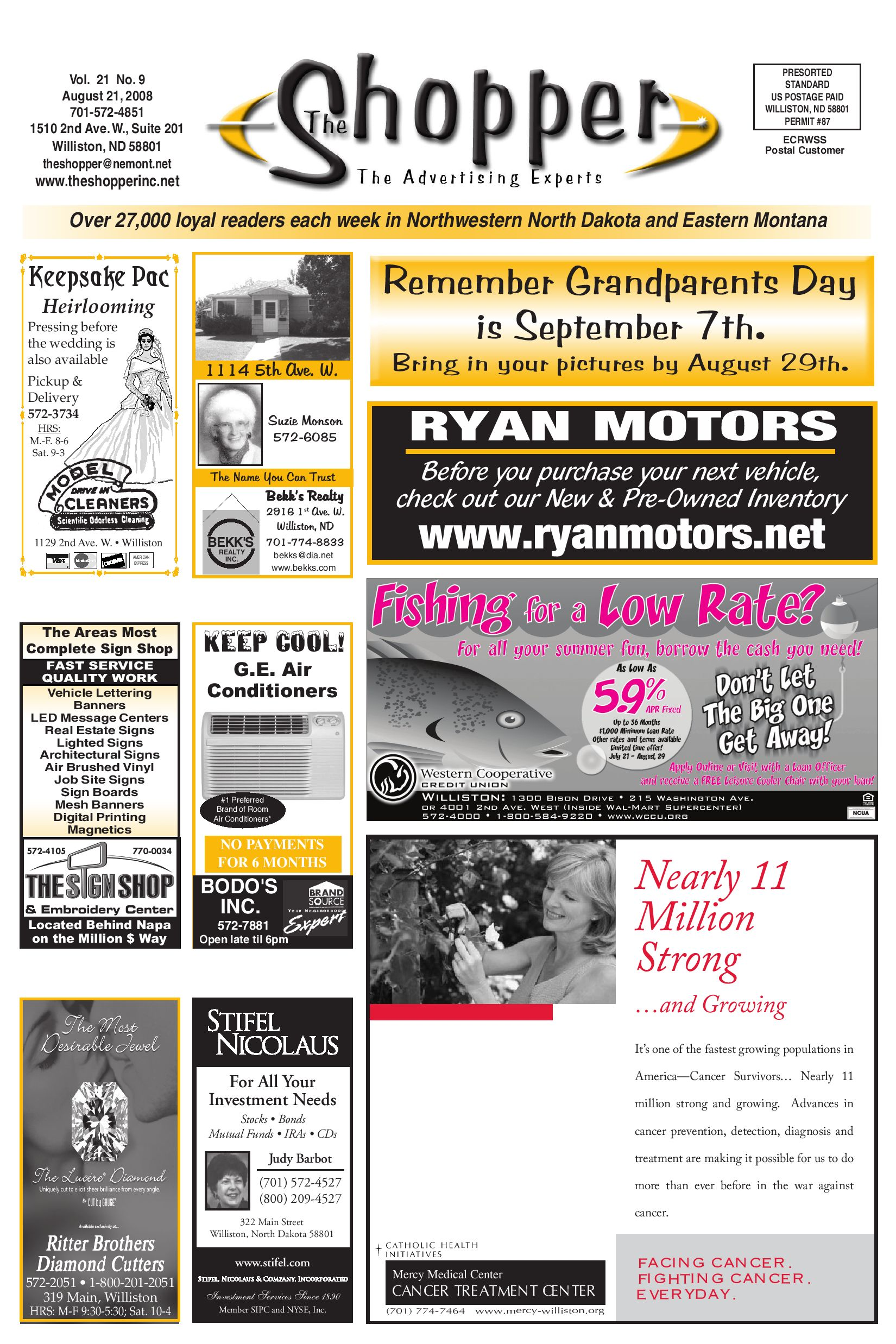 The shopper august 21 2008 by the shopper issuu for Ryan motors in williston nd