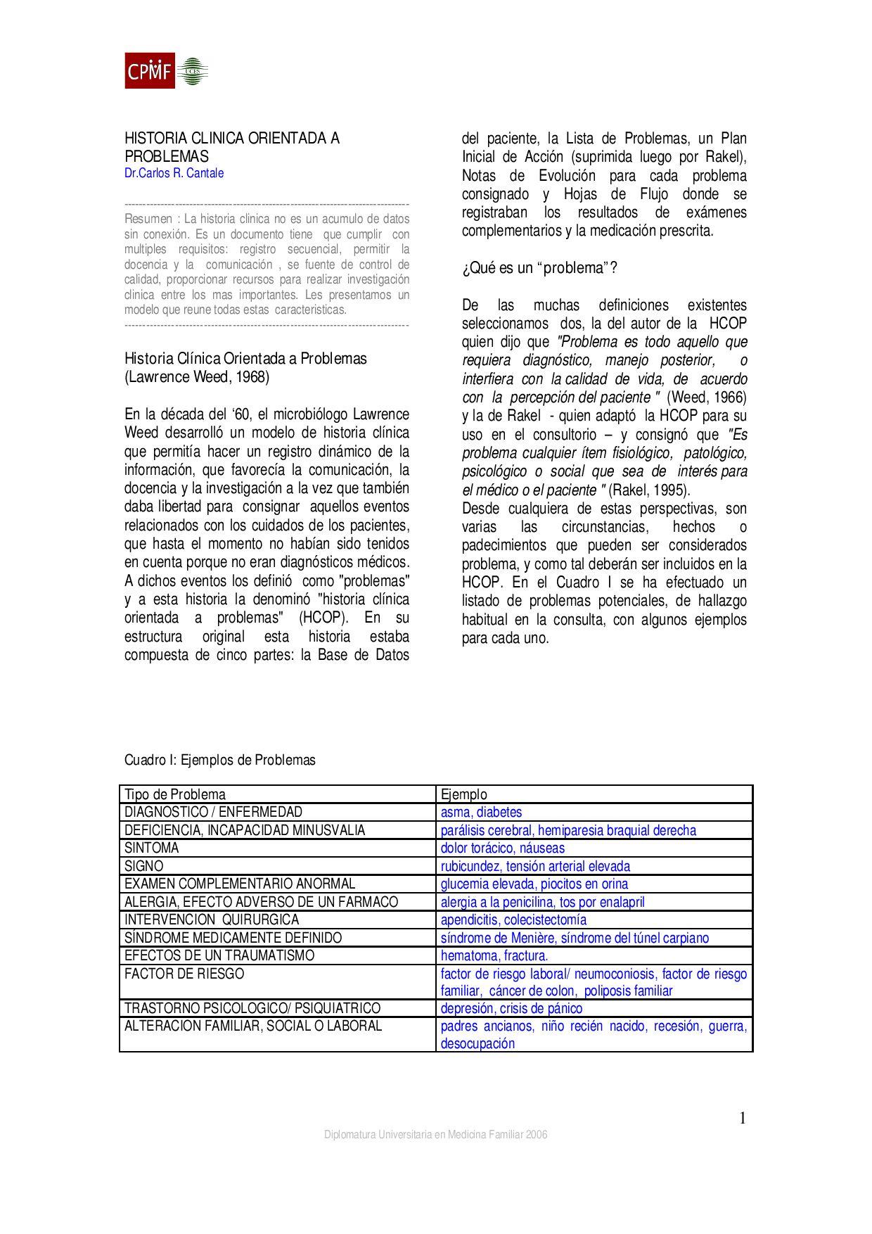 Historia Clinica Orientada a Problemas by Ruben Roa - issuu