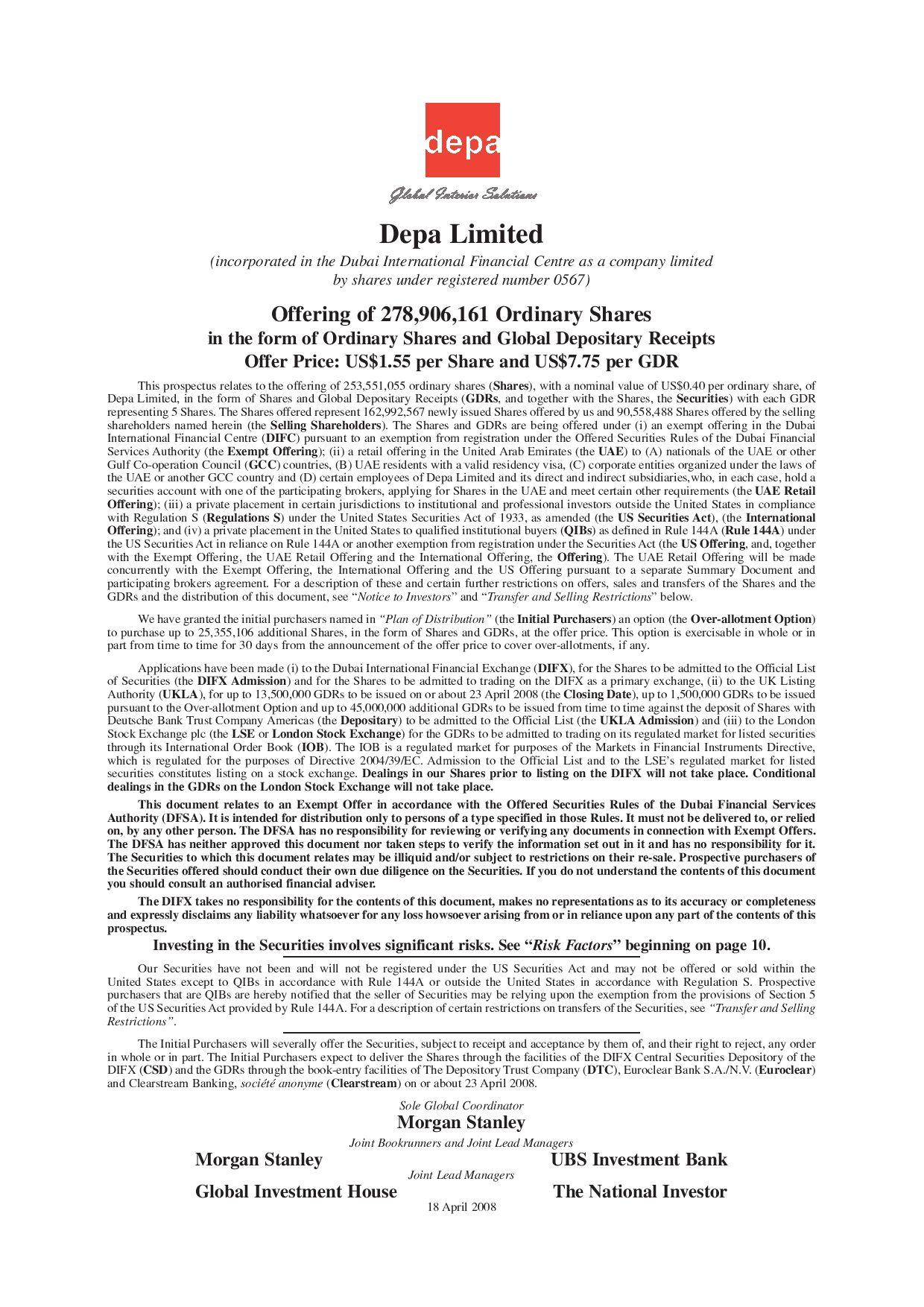 Ipo prospectus by depa united group issuu biocorpaavc Gallery