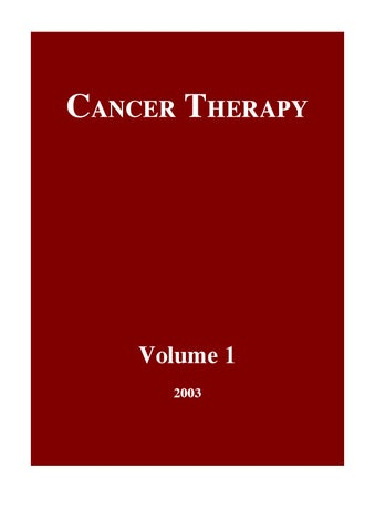 Page 1. CANCER THERAPY. Volume 1 2003