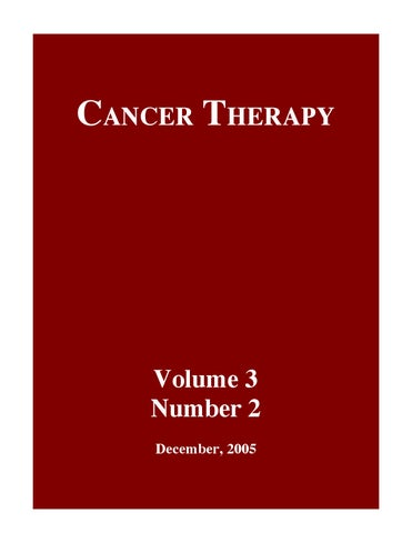 Cancer Therapy Volume 3 Issue B By Cancer Therapy Issuu