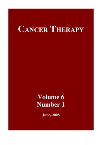 Cancer Therapy Volume 6 Issue A By Cancer Therapy Issuu