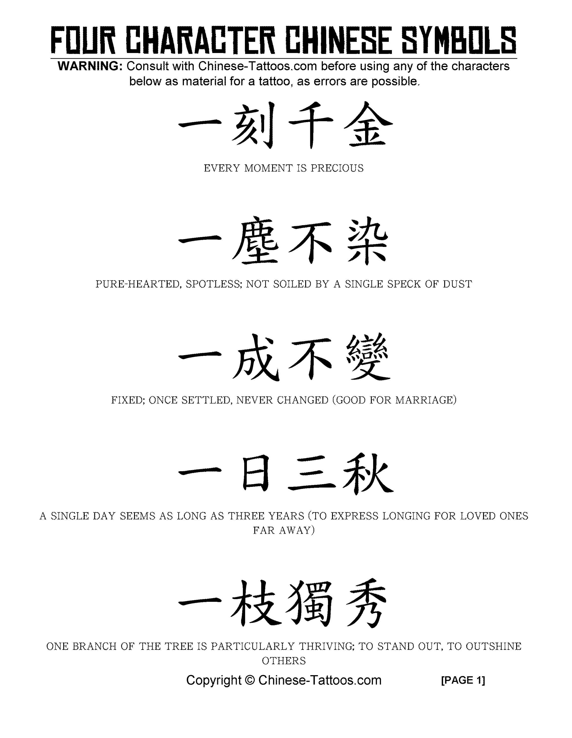 Chinese tattoos 4 character symbols by chinese tattoos issuu buycottarizona Gallery