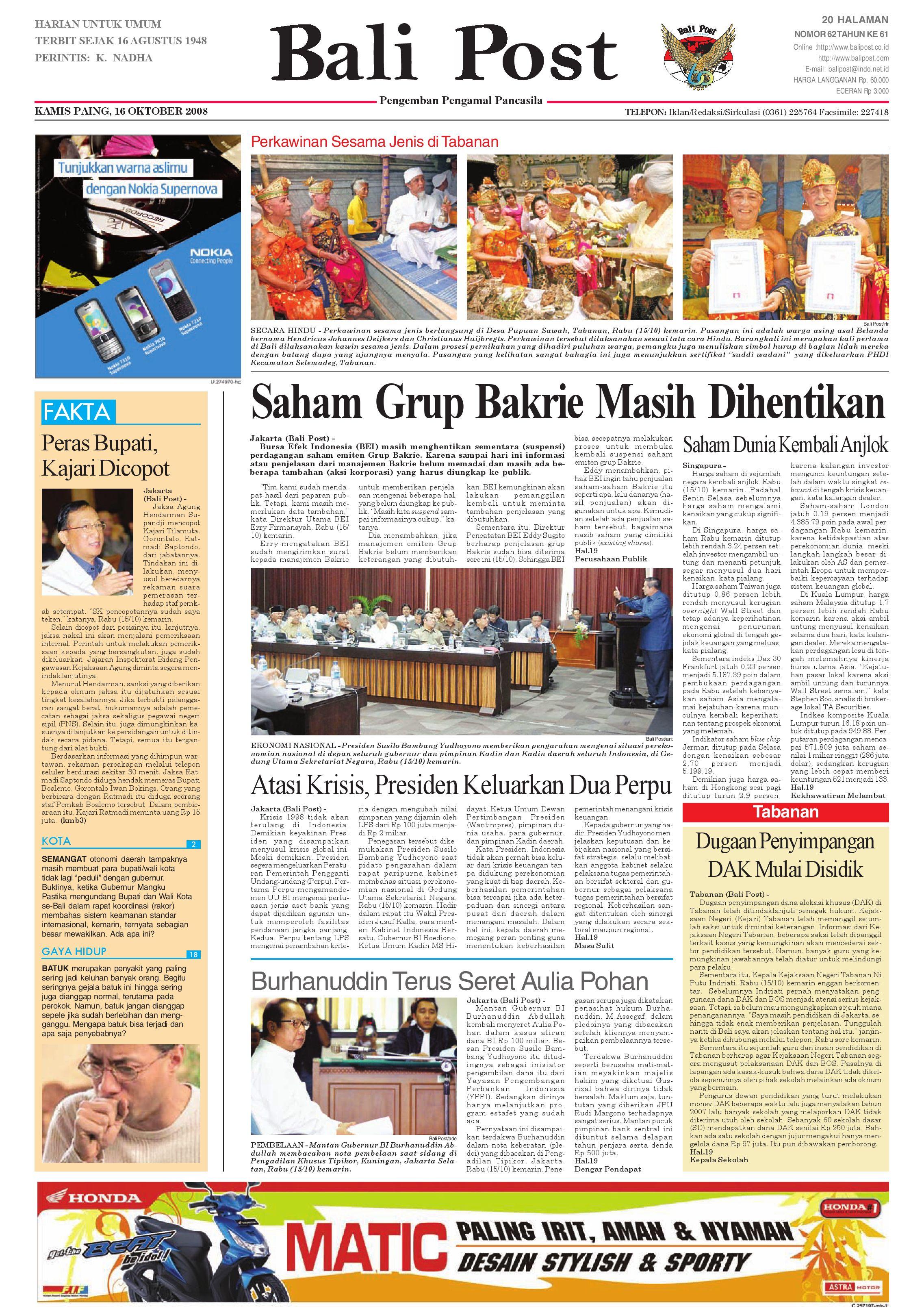 Bali Post Kamis 16 Oktober 2008 By E Paper KMB Issuu