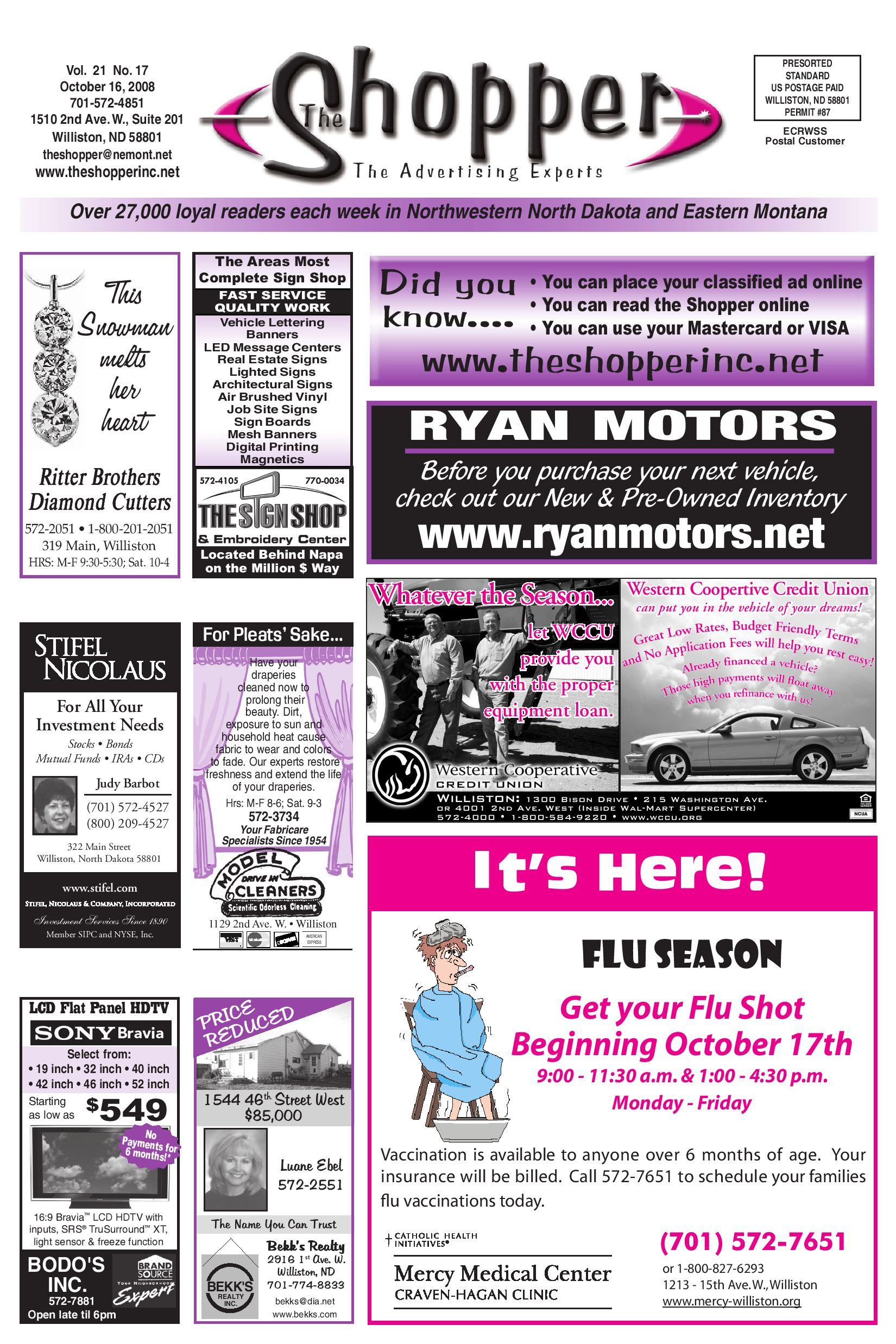 The shopper october 16 2008 by the shopper issuu for Ryan motors in williston nd