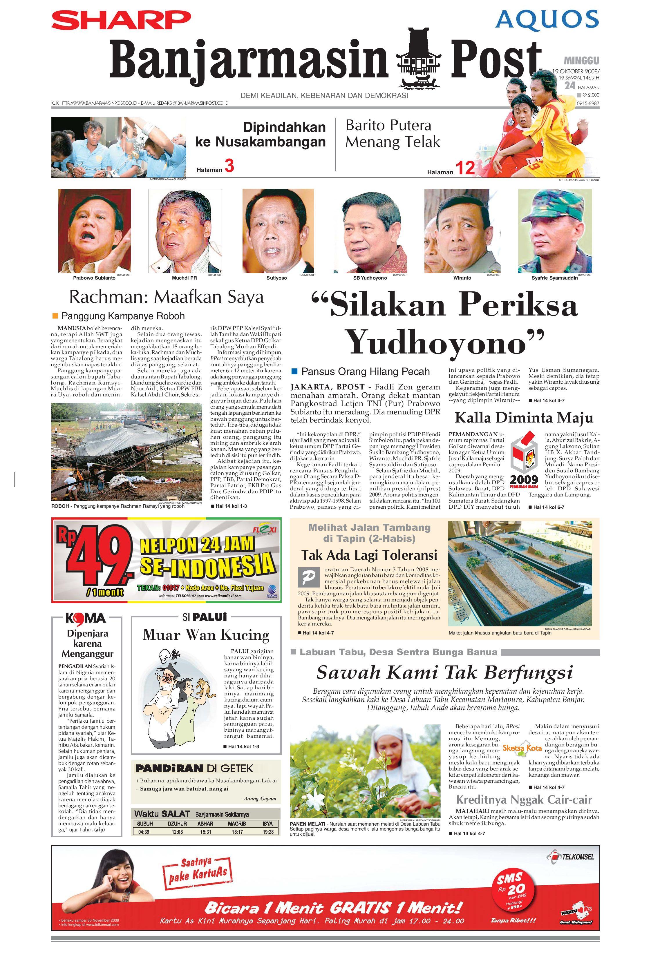 Banjarmasin Post 19 Oktober 2008 By Issuu Gendongan Bayi Depan Mbg 6201 Free Ongkir Jabodetabek