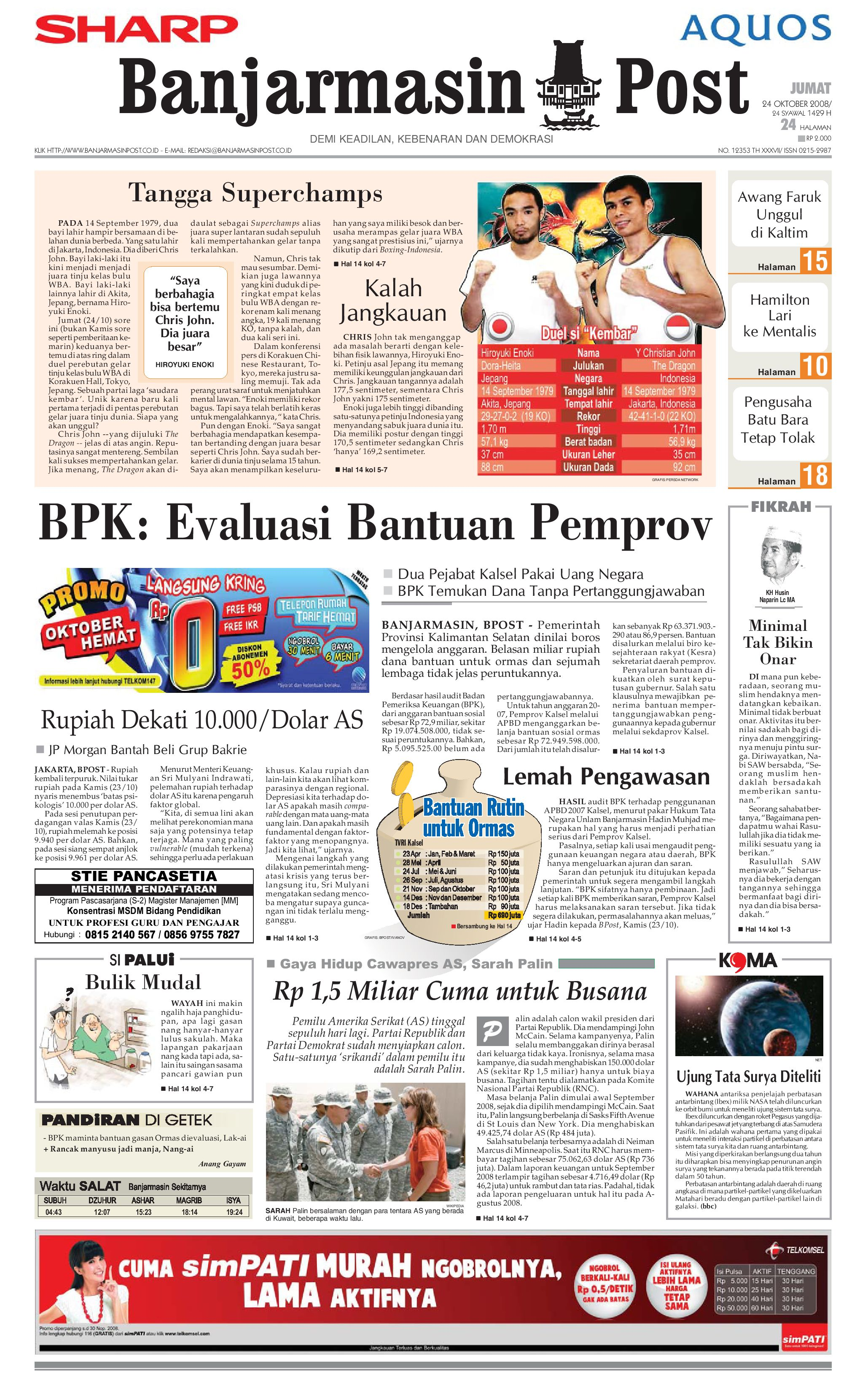 Banjarmasin Post 24 Oktober 2008 By Issuu Fcenter Meja Makan Dt Sienna Dan Dc Danish Jabodetabek