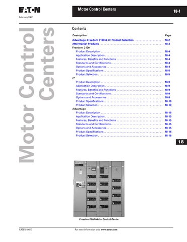 Tab 18 motor control centers by greg campbell issuu for Cutler hammer freedom 2100 motor control center