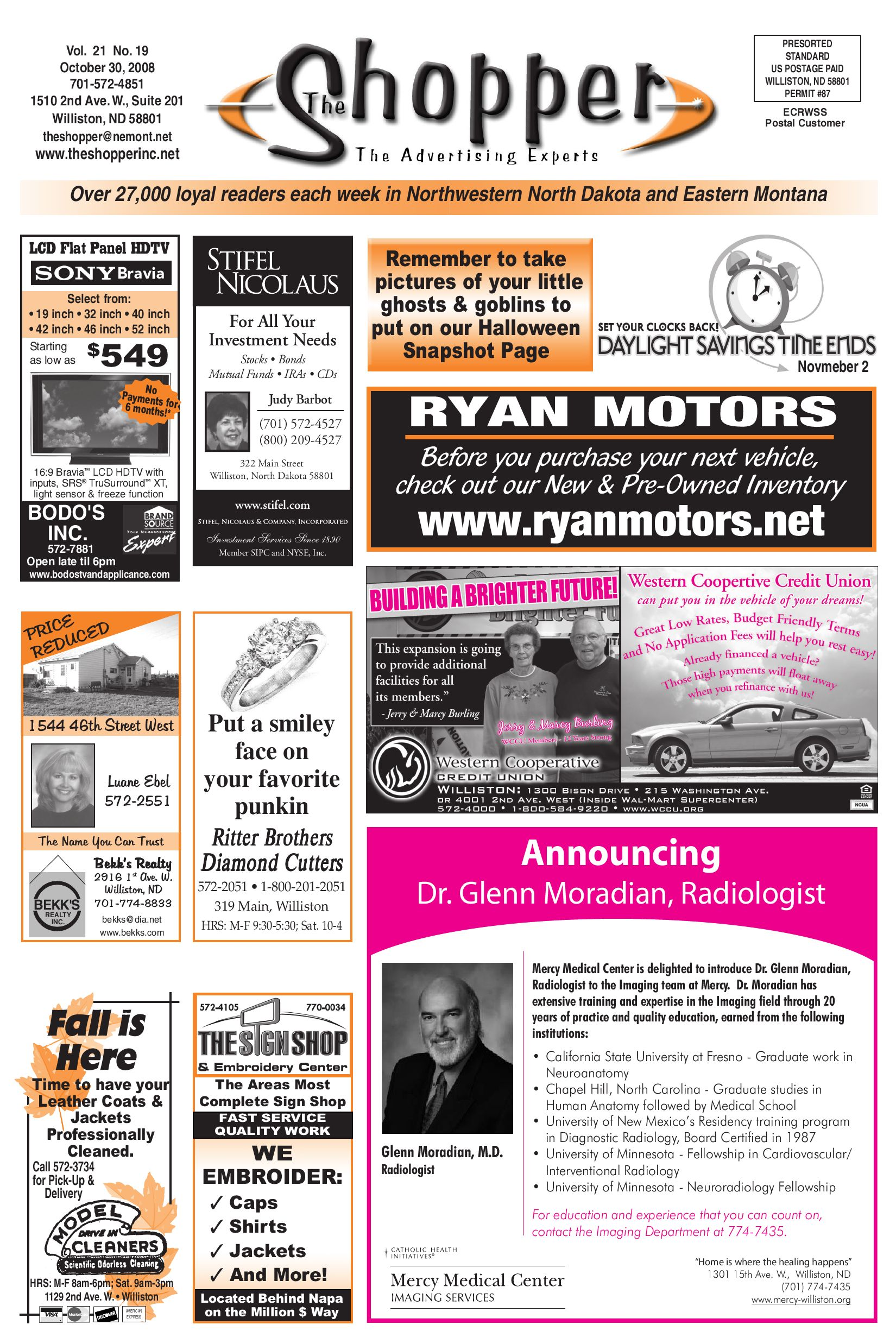 The shopper october 30 2008 by the shopper issuu for Ryan motors in williston nd