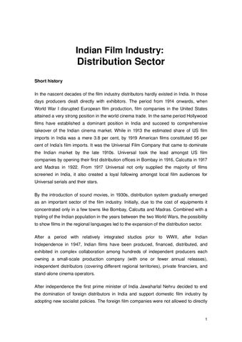 Distribution and exhibition sectors of indian film industry
