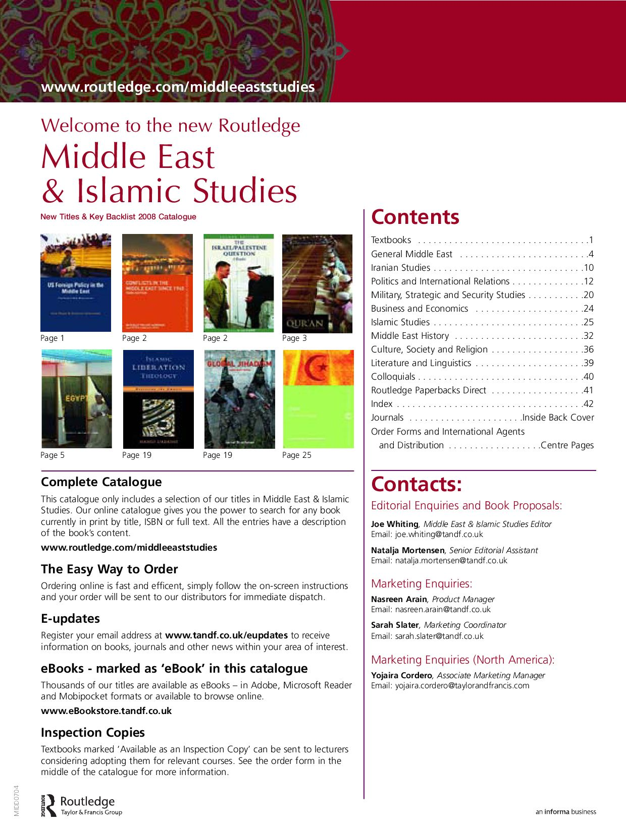 Middle East & Islamic Studies 2008 (uk) By Routledge Taylor & Francis Group   Issuu