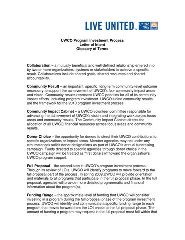 Investment Letter Of Intent.Uwco Program Investment Process By United Way Of Central