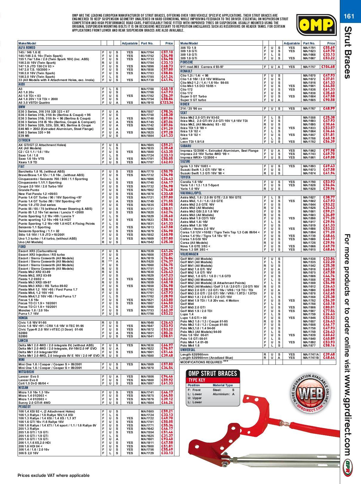 MA//1838 OMP REAR UPPER STRUT BRACE RENAULT CLIO MK2 ALL MODELS