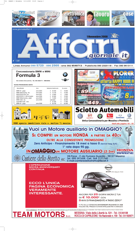 Giornale Affari del 1 Novembre 2008 by Editoriale Affari Srl Messina - issuu 818d1c68a78