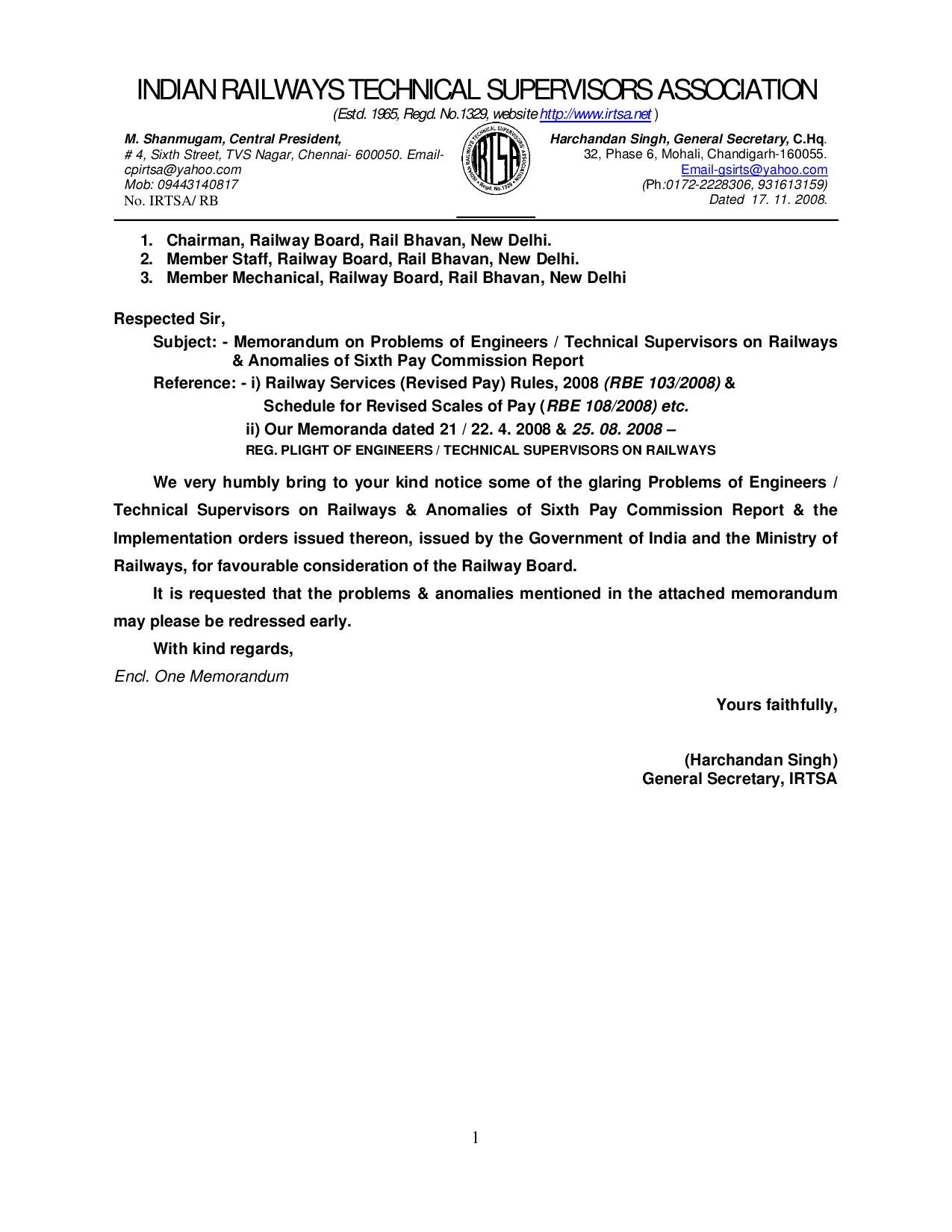 IRTSA Memorandum To Member Staff By Navtej Singh