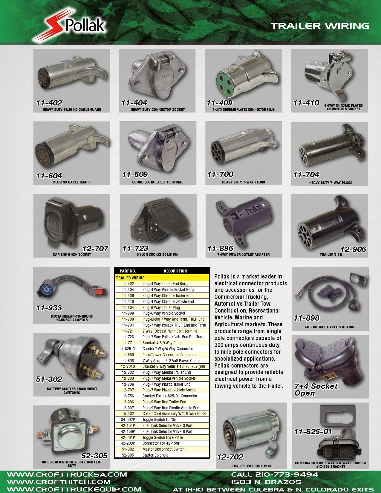 "Size Part # 1B-2 Pollak 12V 6 Pin Trailer /& RV Connector 3 5//8/"" X 2 3//8/"""