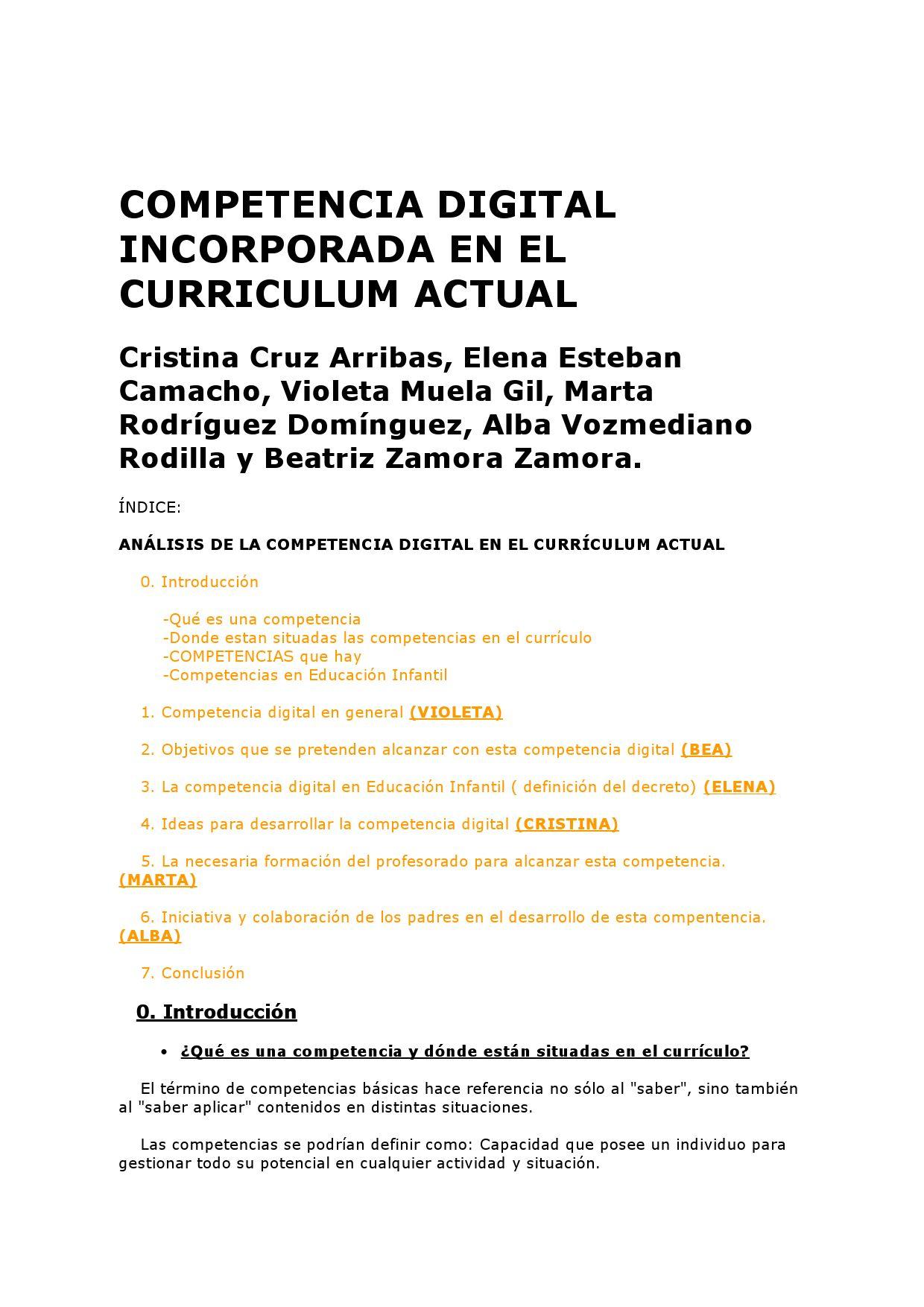 COMPETENCIA DIGITAL INCORPORADA EN EL CURRICULUM by cristina cruz ...