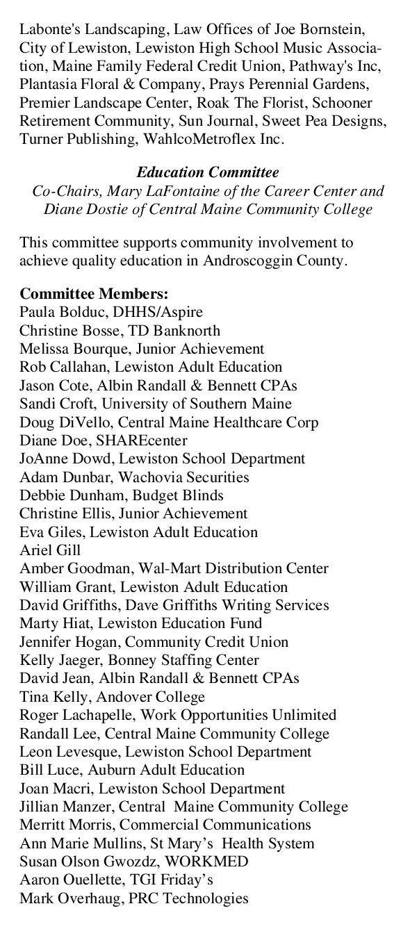 Androscoggin County Chamber Of Commerce 2008 Annual Report