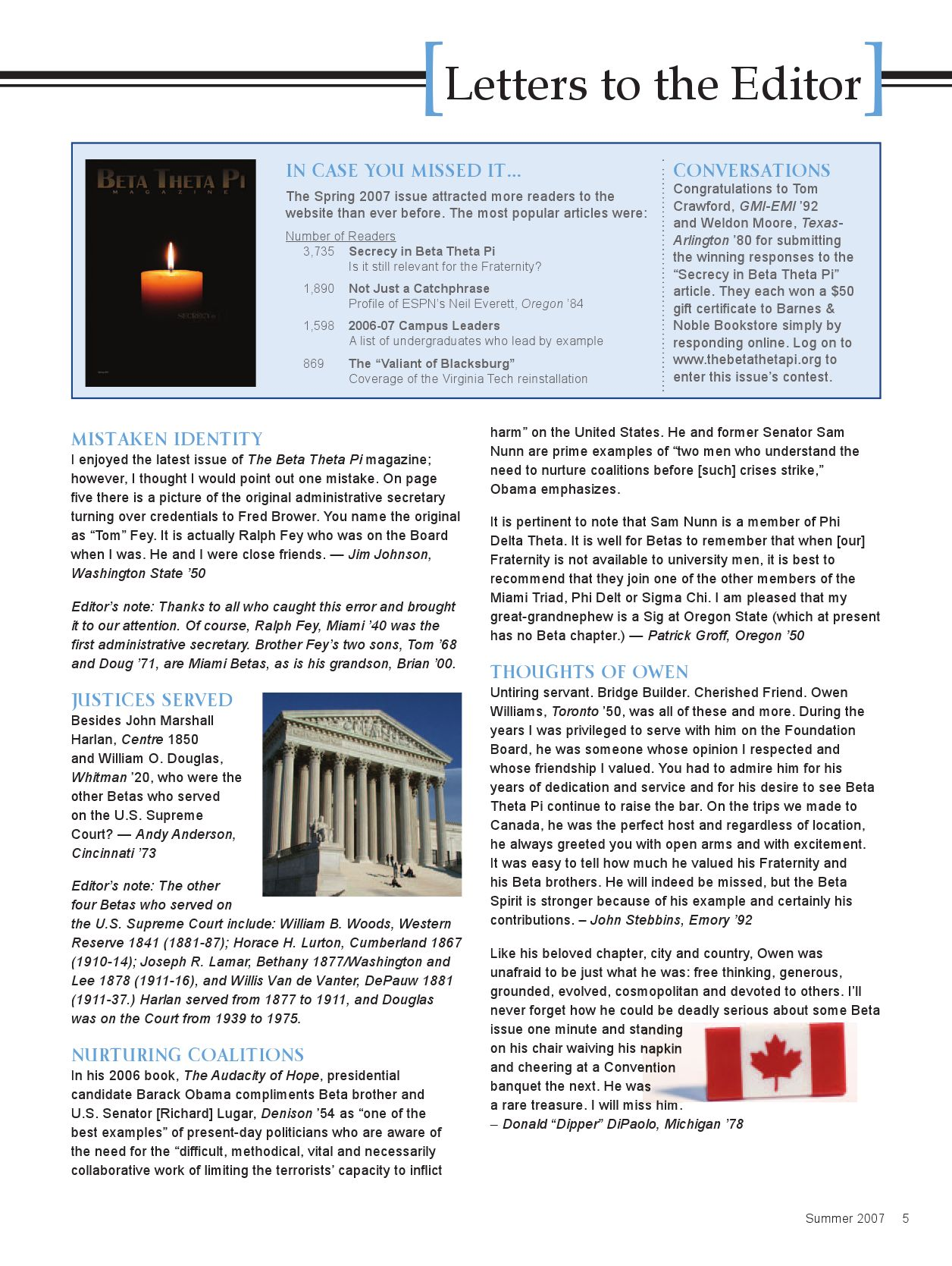 The Beta Theta Pi Magazine (Summer 2007) by Beta Theta Pi